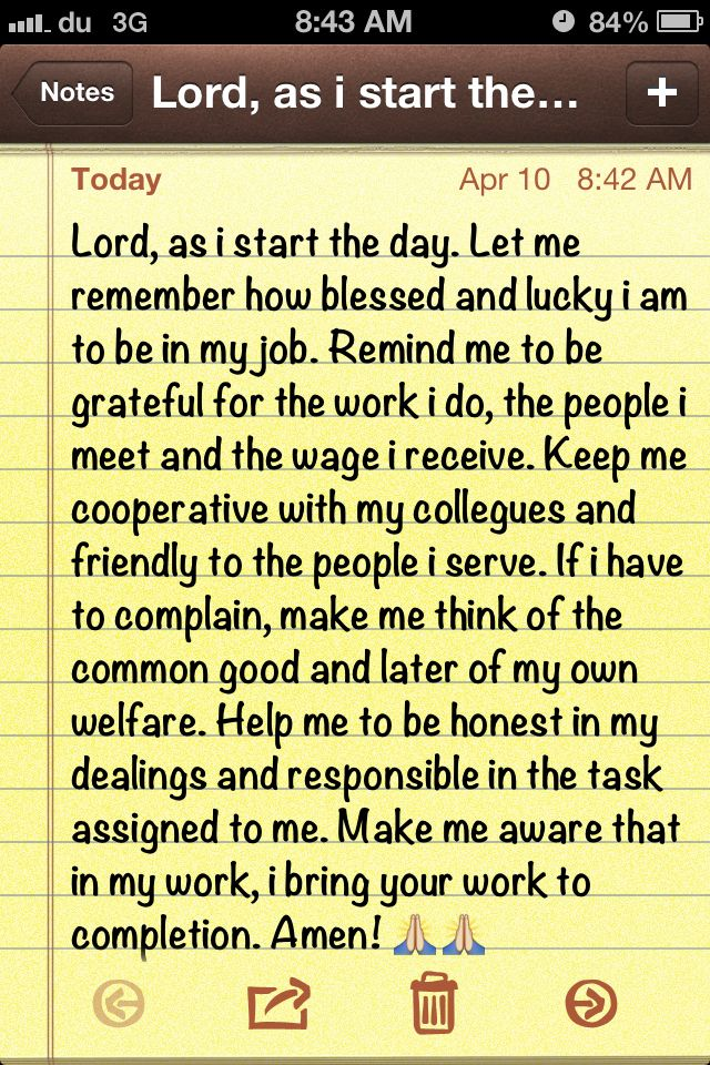 Prayer before work.