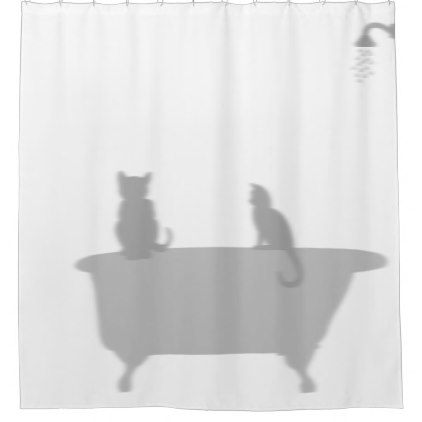 Cats In Tub Shower Silhouette Shadow Funny Shower Curtain - shower curtains home decor custom idea personalize bathroom