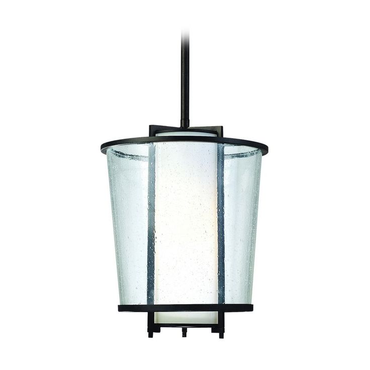 Modern Outdoor Hanging Light with White Glass in Forged Bronze Finish at Destination Lighting