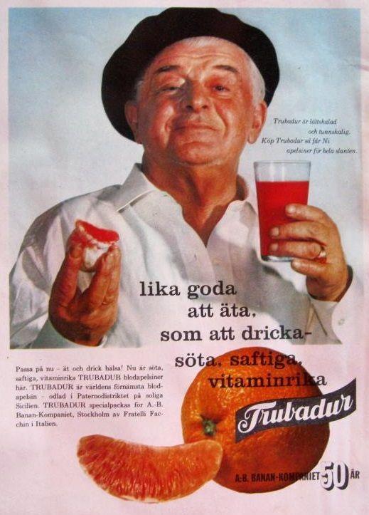 1959 Evert Taube - svensk visdiktare, skald, sångare. Reklam för apelsiner