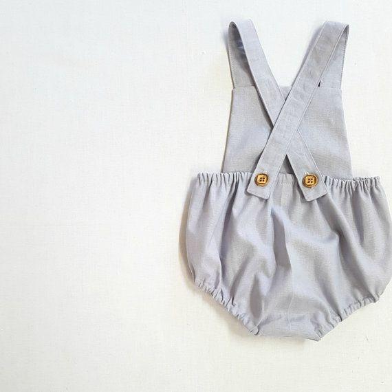 Grey Linen romper Baby boy romper toddler romper by EdmundAndRose