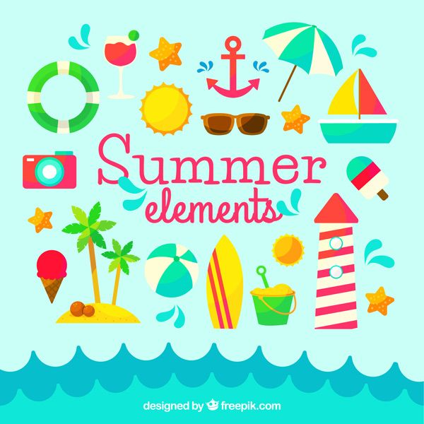Cheerful Summer Greeting Cards by Freepik and Flaticon
