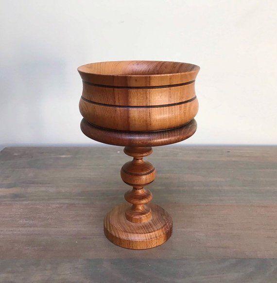 Vintage Wood Pedistal Bowl