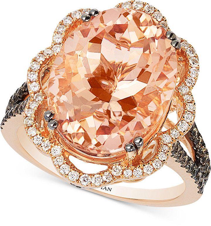 Le Vian Peach Morganite (7 ct. t.w.) and Diamond (3/4 ct. t.w.) Ring in 14k Rose Gold