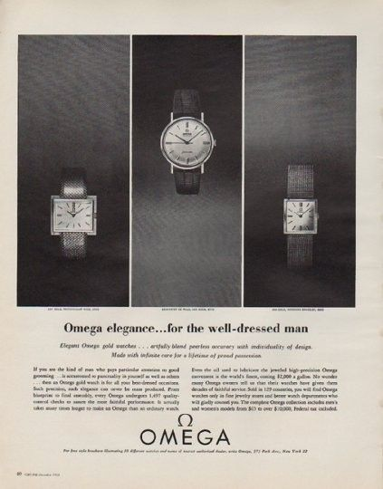 """Description: 1963 OMEGA WATCHES vintage print advertisement """"Omega elegance"""" -- Omega elegance ... for the well-dressed man ... Elegant Omega gold watches ... artfully blend peerless accuracy with individuality of design ... Seamaster de Ville -- Size: The dimensions of the full-page advertisement are approximately 10.25 inches x 13 inches (26 cm x 33 cm). Condition: This original vintage full-page advertisement is in Excellent Condition unless otherwise noted."""