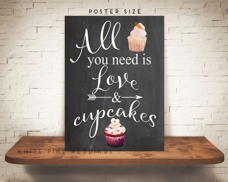 PRINTABLE Chalkboard Wedding Cupcake Sign, Dessert Bar sign, Cupcake Sign, Red Velvet cupcake sign, All you need is love and cupcakes sign by WhitePineWeddings on Etsy https://www.etsy.com/listing/266915505/printable-chalkboard-wedding-cupcake