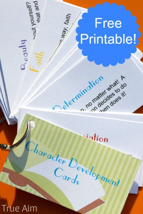 True Aim Education has a FREE Set of Character Building Cards. She suggests activities to use these cards with and other tips, too.  N