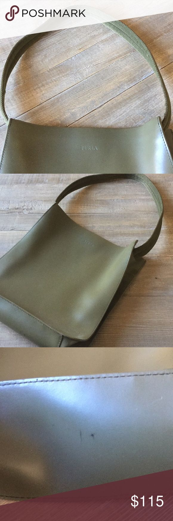 Olive green Furla purse This is a beautiful purse and is gently used. It has one mark on the bottom, but otherwise is in great shape! Furla Bags Shoulder Bags