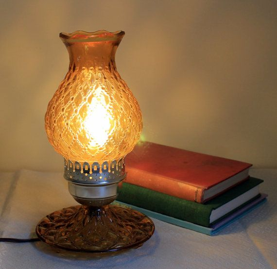 Vintage Amber Glass Hurricane Lamp Electric by MillyCatVintage
