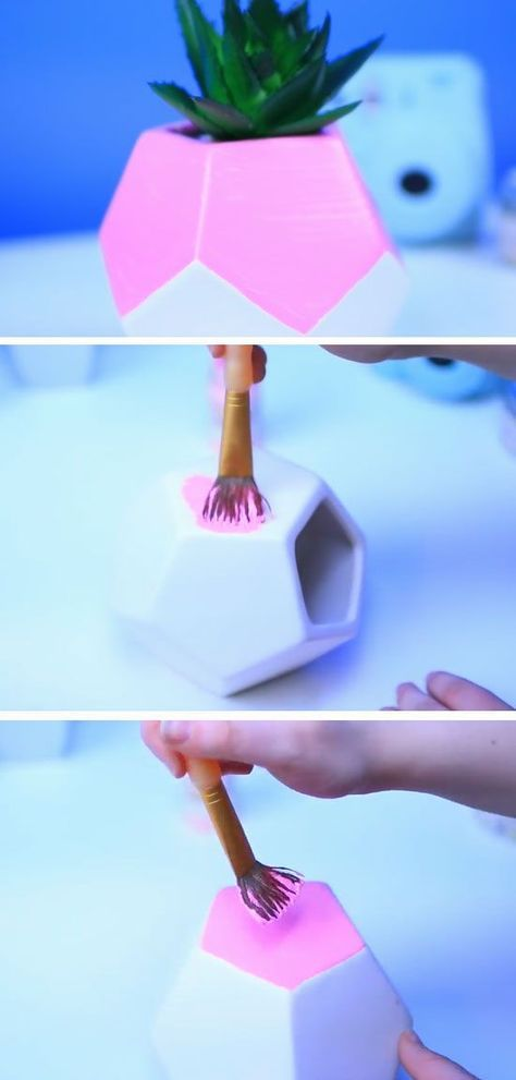 Pink Hexagon Succulent Holder   18 DIY Summer Tumblr Room Decor Ideas that are insanely cute!