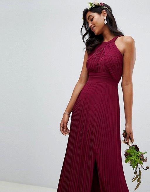 05b9d2f586ba TFNC pleated bridesmaids maxi dress in burgundy in 2019