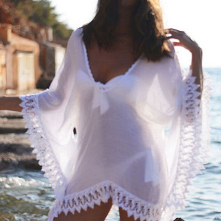 S XXL Bikini Femmes Sexy Cover UP Creux Crochet Maillot DE Bain Beach Dress Robe   eBay