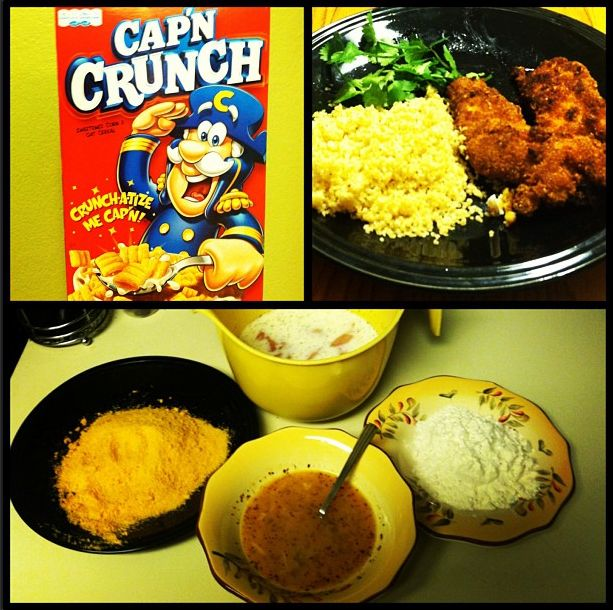 Captain Crunch Crusted Chicken!! Best idea ever thanks to @Little Leopard Book #CaptainCrunch #cereal #chicken #dinner
