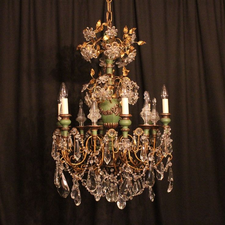 Beautiful decorative Italian giltwood Florentine antique chandelier