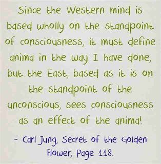 Since the Western mind is based wholly on the standpoint of consciousness, it must define anima in the way I have done, but the East, based as it is on the standpoint of the unconscious, sees consciousness as an effect of the anima! ~Carl Jung, Secret of the Golden Flower, Page118.