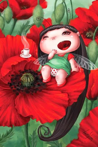 hot cup of coffee // tea, poppies, and the ability to sleep long time on a warm August Day