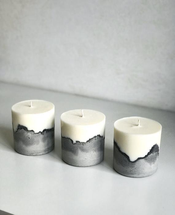 Plain soy wax candles in concrete pot