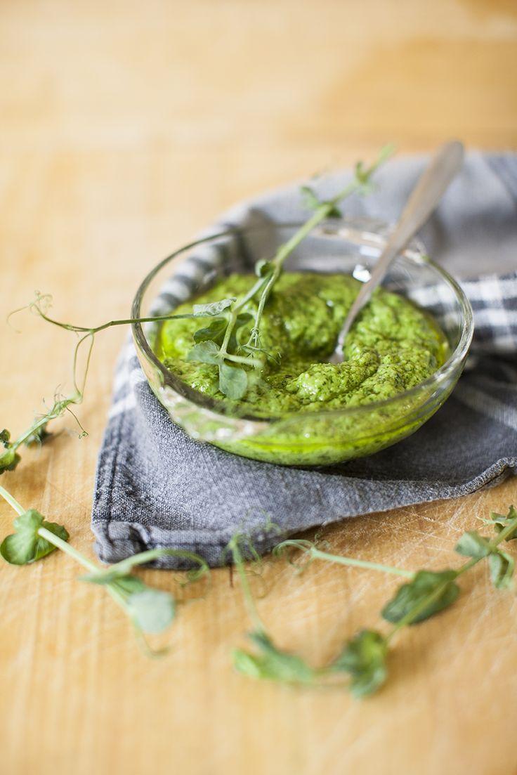 Pesto på ärtskott, recept här: http://martha.fi/sv/radgivning/recept/view-93381-4674