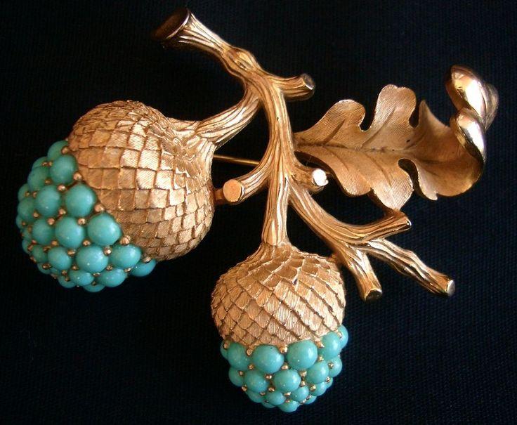Trifari Gold & turquoise acorns