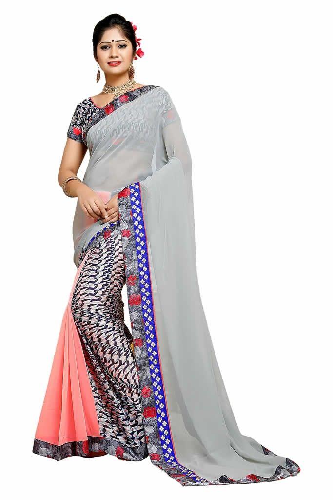 buy saree online Multi Colour Georgette Silk Printed Saree Buy Saree online - Buy Sarees online