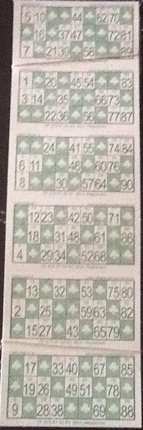 Cartones de Bingo en cartulina