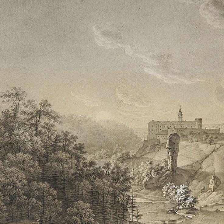 """Jan Nepomucen Dembowski  """"W Obwodzie Olkuskim Widok Zamku Pieskowa Skała"""" (1824)  źródło: Biblioteka Narodowa"""