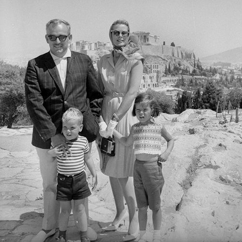 royalwatcher:  Prince Rainier, Princess Grace, Prince Albert, and Princess Caroline on holiday in Greece, 1961