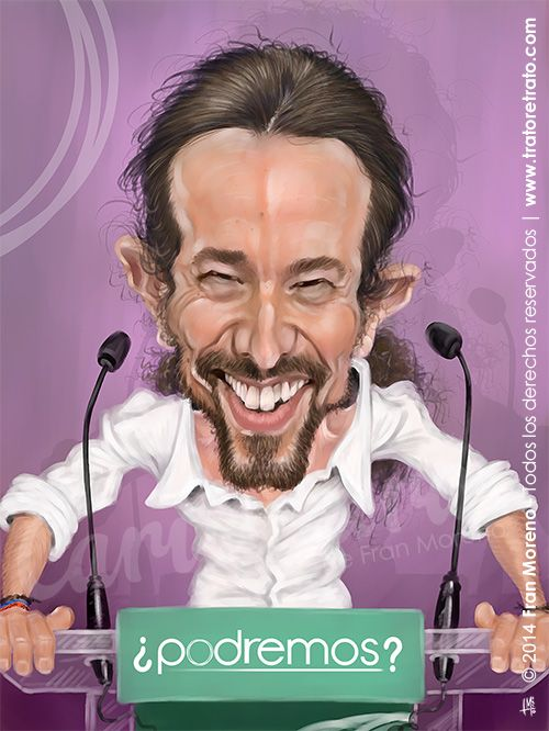 "Caricaturas de Famosos: ""Pablo Iglesias"" por Fran Moreno"