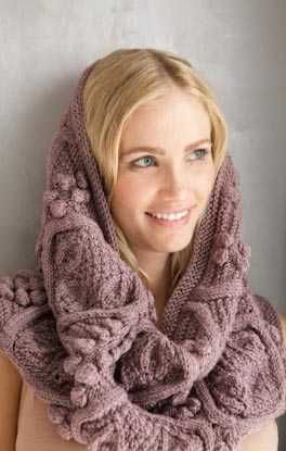 Free knitting pattern for Bobbles and Leaf Lace Hood and more hood knitting patterns. Convertible cowl knitting pattern.