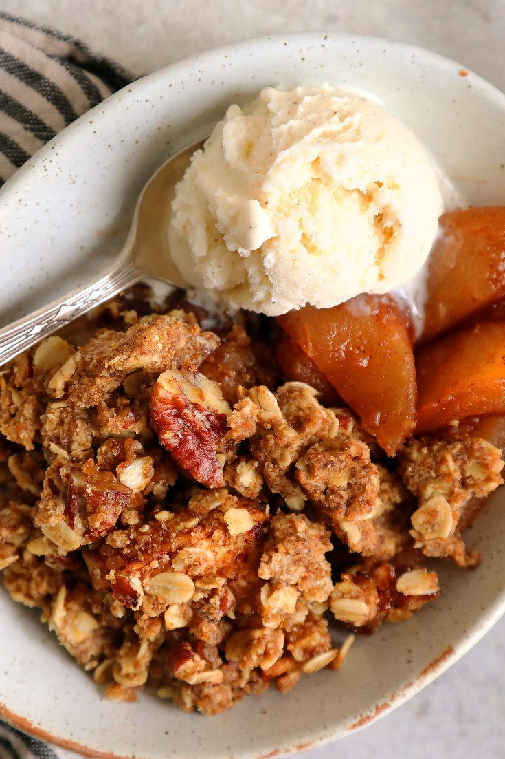 NYT Cooking: Apple crumble is one of those desserts all cooks should have in their back pockets. It's a no-fuss favorite that works as well for dessert with a big scoop of ice cream as it does for breakfast with some plain, whole-milk yogurt. This recipe starts with a hefty crumb mixture, studded with pecans and old-fashioned rolled oats. Plenty of butter and sugar ensure the cru...
