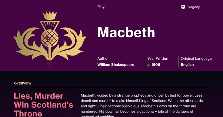 a literary analysis of the tragedy macbeth by william shakespeare A critical analysis of william shakespeare's 'macbeth'  if hamlet is the grandest  of shakespeare's plays, macbeth is from a tragic standpoint the most sublime.