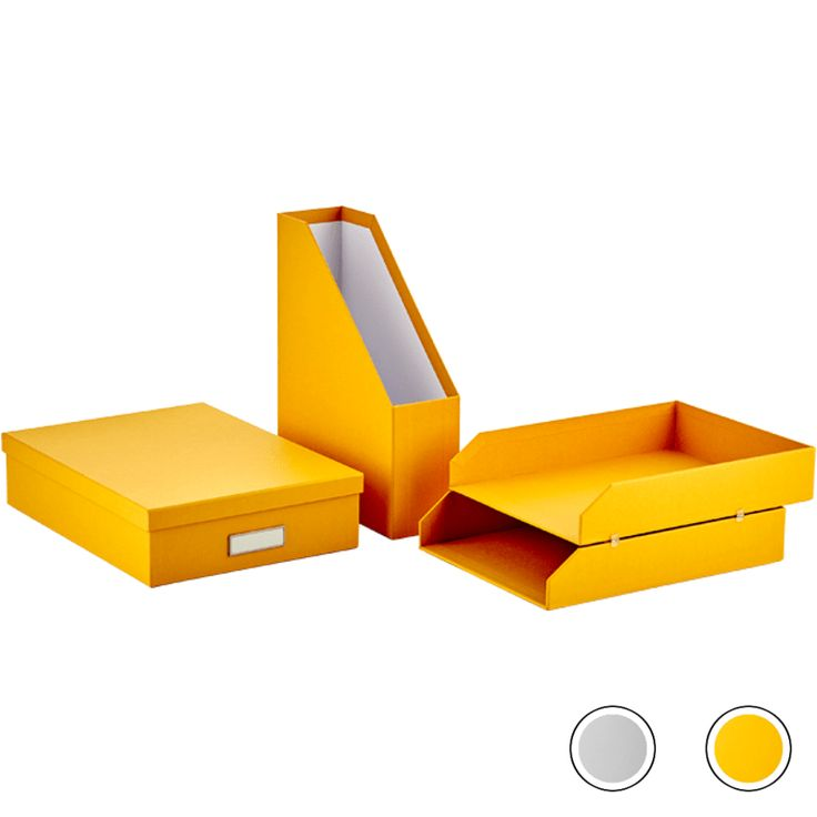 Made Essentials Alida Home Office Set : Document File / Stackable Tray / A4 Document Box, Yellow from Made.com. Express delivery. Paperwork a plenty..