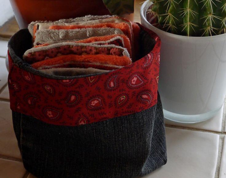 12 Lingettes Tissu Minkee et Coton, dans leur Pochon de rangement : Puériculture par princesse-aglae