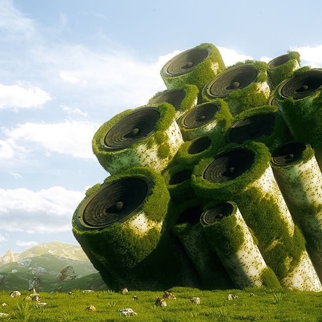 STERIOLAND . #cinema4d #c4d #wonderland #color #sterio #cinema #render #nature #octanerender #grass #everyday #music #daily #surreal #speakers #otoy #cg #environment #3d #graphic #design #abstract #art #forest #JBL #realistic #digital #Bose #progress #greens