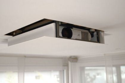 Projectors can easily be hidden for home cinema environments. Contact us for options