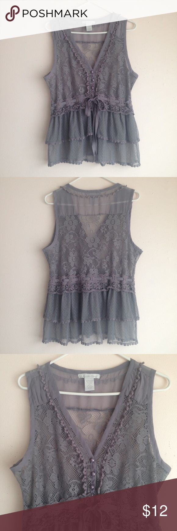 Charlotte Russe Boho Vest Length: approx. 24 inches  Width: approx. 18 inches at bust  •Material: 100% polyester •Material is sheer/see-through  •Floral lace in top has slight stretch •Lace & Crochet detailing •3 button closure at front top of Vest •Ribbon belt woven into vest     $5 off your 1st purchase! Use promo code NVMES. Purchase doesn't have to be from my closet.  Smoke free, cat friendly home Charlotte Russe Jackets & Coats Vests