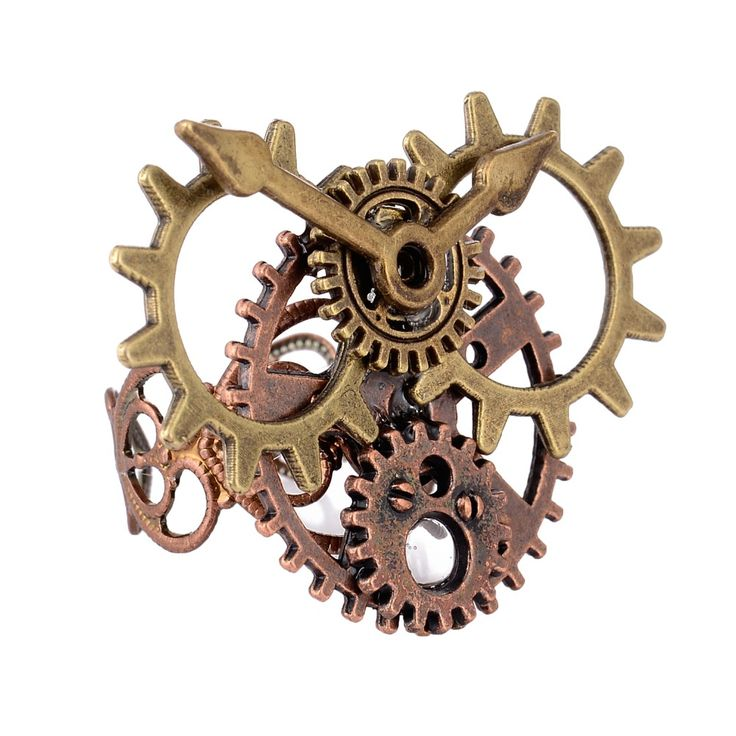Vintage Steampunk Watch Part Gears Ring Punk Movement Antique Copper Rings for Women Men Jewelry accessories T4372