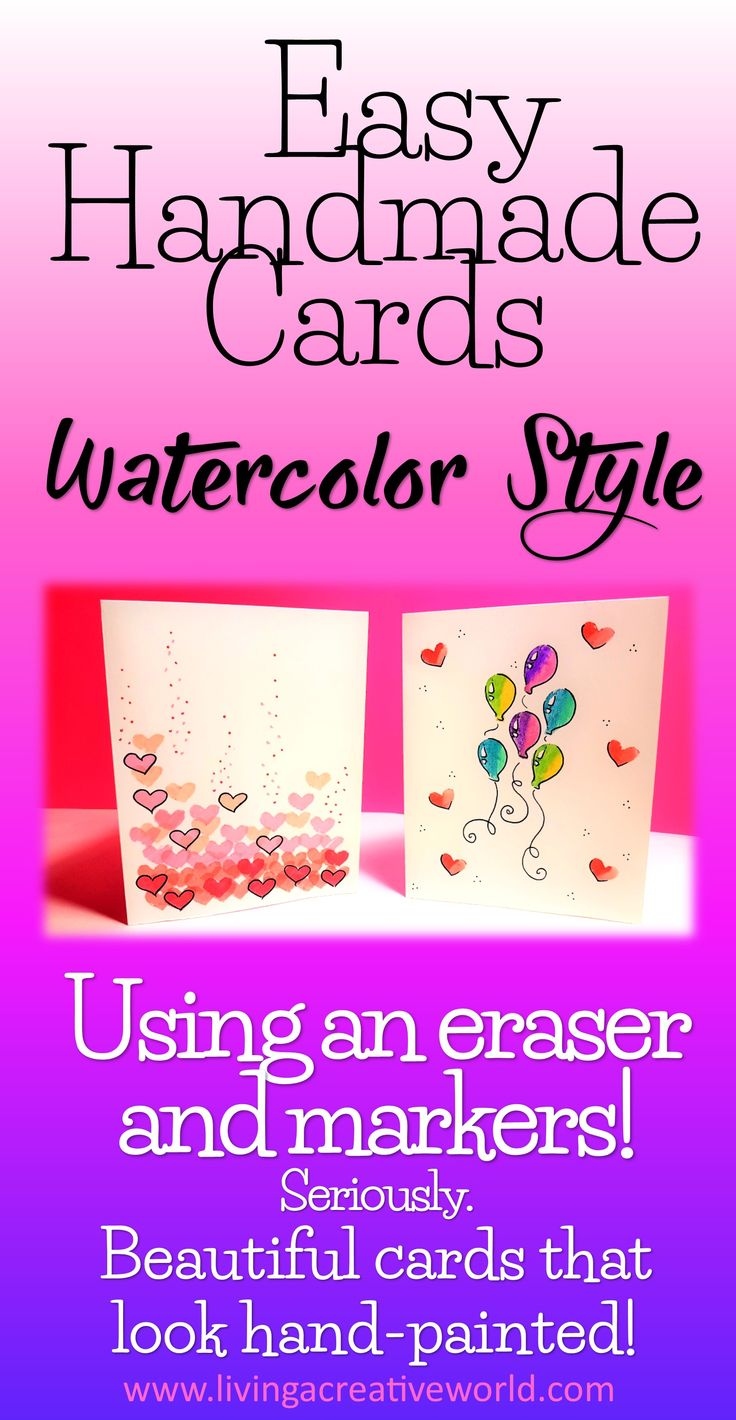 DIY Handmade Cards! Watercolor look with simple children's art supplies :) #diycards #watercolor #handmadecards #easydiy #quickandeasyhomemadecard