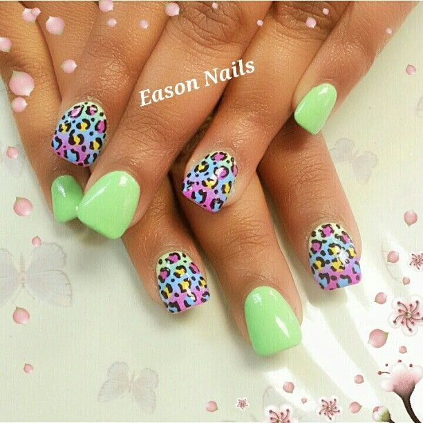 neon and lisa frank nails