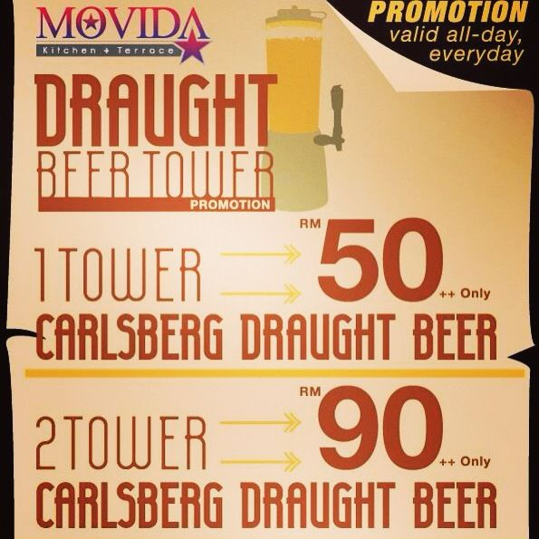 MOVIDA presents The Ultimate Beer Tower Promotion! RM50 for a Beer Tower! Everyday from 12noon till 9pm! How Awesome is that???