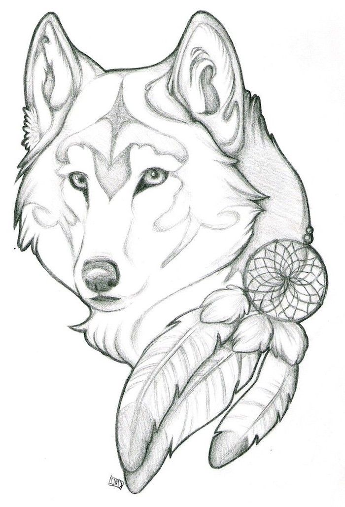 easy-things-to-draw-when-your-bored-wolf-dreamcatcher ...