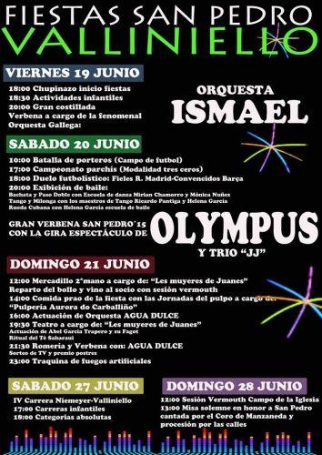 Las Fiestas San Pedro 2015 de Vallieniello (Avilés) se celebrarán en dos fines de semana. Las principales actividades festivas se realizarán del viernes 19 al domingo 21 de junio, mientras que el sábado 27 se celebrará la IV Carrera Niemeyer-Valliniello y el domingo 28 la Misa en honor a San Pedro.