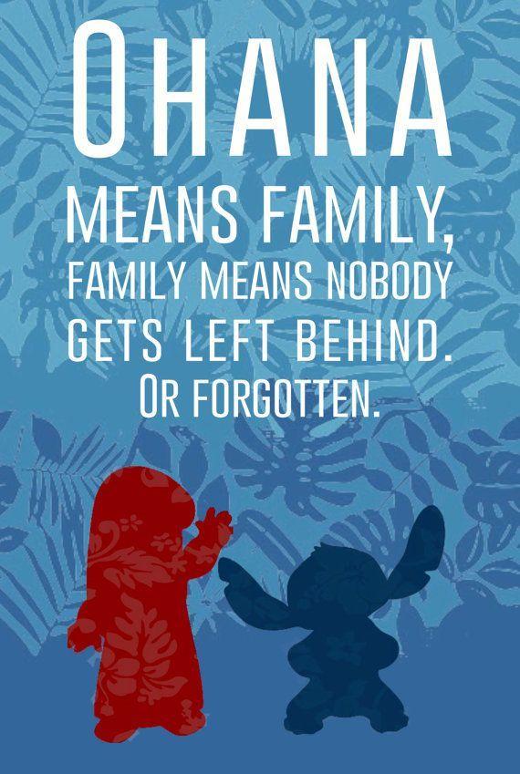 Ohana quer dizer família. E família quer dizer nunca mais abandonar. #LiloStich