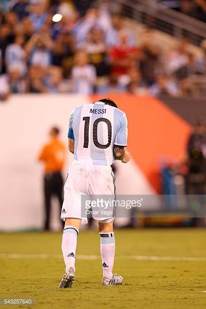 Lionel Messi of Argentina reacts after missin a penalty during the penalty shootout as part of the championship match between Argentina and Chile at...
