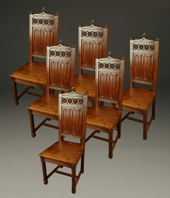 Set of 6 antique oak plank seat Gothic style side chairs. Circa 1890. # - 92 Best Antique Chairs Images On Pinterest Antique Chairs, 19th