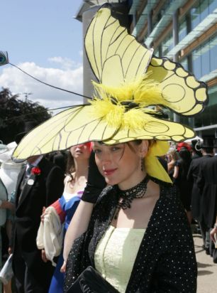 Ascot butterfly hat; Kentucky Derby idea; Upcycle, Recycle, Salvage, diy, thrift, flea, repurpose, refashion! For vintage ideas and goods shop at Estate ReSale & ReDesign, Bonita Springs, FL