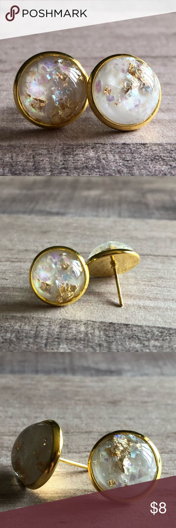 """🆕White Opal Gold Metal Stone Stud Earrings! New, Handmade by Me! 🆕Style! Opal Stone mixed with Gold Metal! Listing in White, Black & Dark Blue; This listing is for the White Stone in Gold Post Backs; Approx. 12mm or 1/2"""" Size; Can make in any Style Back Shown!📸These are my pic's of the Actual items!  ▶️1 For $8, 2 For $13, 3 For $15!◀️  ▪️3-$15 is only for items listed as such▪️ ▪️Post Back for Pierced Ears ▪️Nickel, Lead & Cadmium Free  *NO TRADES *Price is FIRM as Listed!  *Sales are…"""