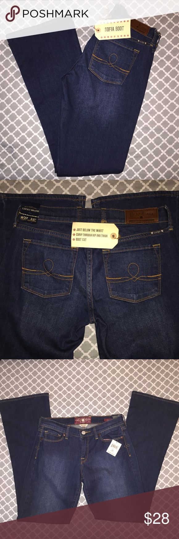 """NWT Lucky Brand Sofia Bootcut Jeans Size 4/27 Lucky Brand Sofia Bootcut Jeans Size 4/27  * Brand: Lucky Brand * Size: 4/27 * Color: Dark Wash * Materials: 99% Cotton, 1% Spandex * Measurements taken laying flat & approximate: Waist 14.5"""", Inseam 32"""", Rise 8"""", Leg opening 9"""" * Features: Sits just below waist, curvy through hip and thighs, stitch design details on hips and back pockets, floral fabric on inside of front pockets * Condition: New with tags, stored in drawer with fragrance sachet…"""