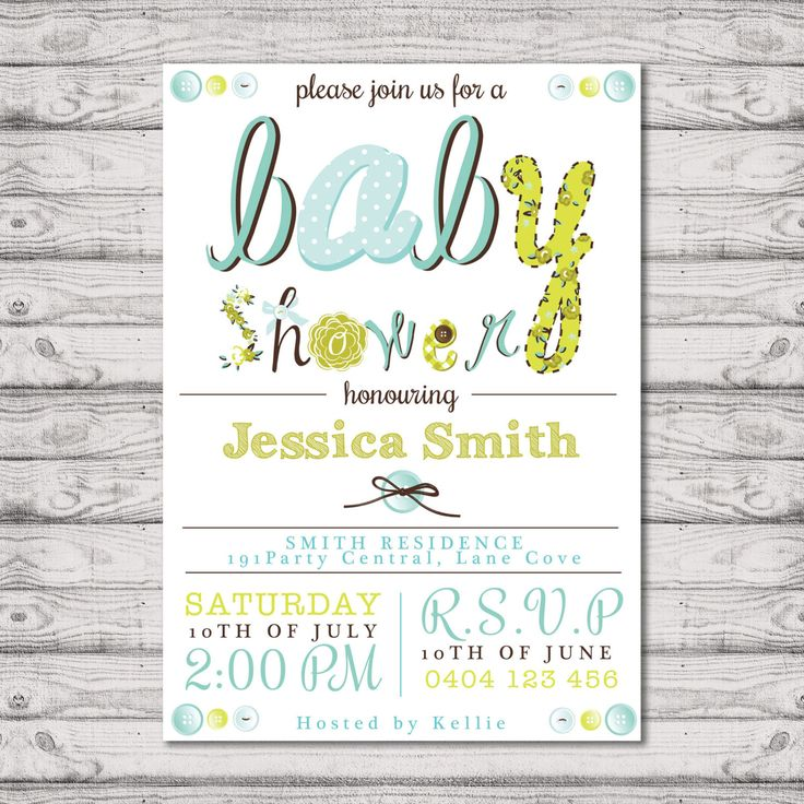 Baby Shower Invitation - Print At Home File or Printed Invitations - Mint Buttons Cute Unisex Personalised Baby Shower Invite by PaperCrushAus on Etsy