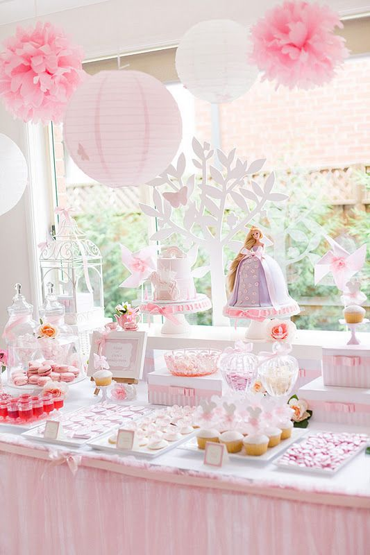princess birthday party dessert bar with princess barbie